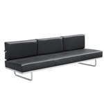 Fine Mod Imports Flat Lc5 Sofa Bed, White , Stainless Steel Finish