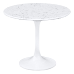 Flower End Side Table White Marble Top