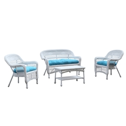 Portside White 4pc Outdoor Set Blue Cushion