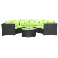 Roundano Outdoor Sofa Green Cushions
