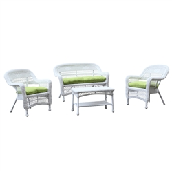 Portside White 4pc Outdoor Set Green Cushion