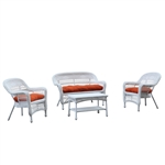 Portside White 4pc Outdoor Set Orange Cushion